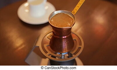 Making Turkish coffee indoors,full hd video