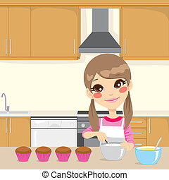 Making Whipped Cream In Kitchen - Illustration of a sweet...