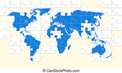 making world map puzzle with missing pieces