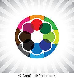 makkers, get-together-, &, maatjes, vector, gra, afsluiten, cirkel, vrienden