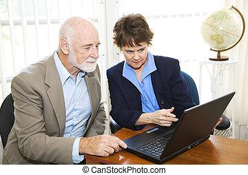 makler, und, klient, ansicht, aktiva, online