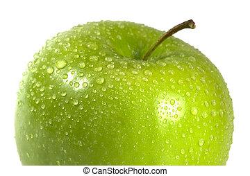 makro, äpple, våt