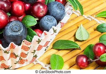 makro, avbild, frisk, cowberry, kopp