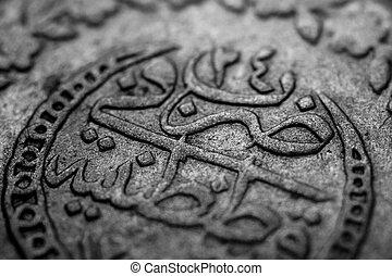 makro, bild, av, en, forntida, ottoman, mynt