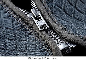 makro, lövés, garment., műanyag, cipzár, modern, half-closed, kék