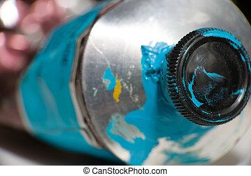 makro, lövés, közül, blue festmény, cső