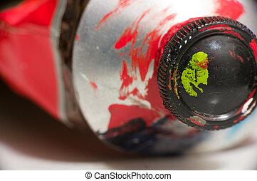 makro, lövés, közül, piros festmény, cső