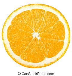 makro, lebensmittel, sammlung, -, orange scheibe
