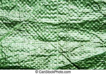 makro, plastiksack, grüner hintergrund, beschaffenheit
