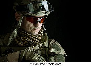 makro, portret, od, niejaki, przystojny, wojskowy, człowiek