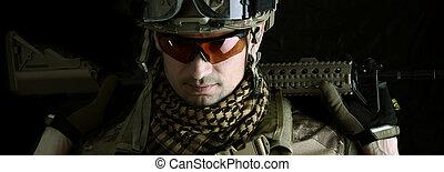 makro, portret, od, niejaki, wojskowy, człowiek, snajper