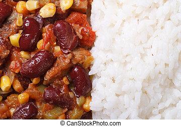 makro, poziomy, jadło, chili, carne, sterować, ryż, meksykanin