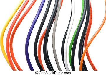 makro, weißes, gefärbt, kabel