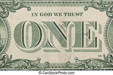 makro, wizerunek, od, dolar