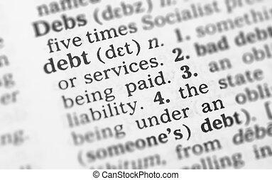 makro, wizerunek, od, słownik, definicja, od, dług