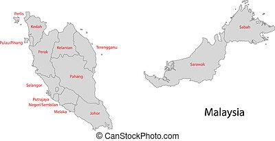 malásia, cinzento, mapa
