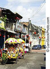 malásia, rickshaws bicicleta, coloridos, malacca