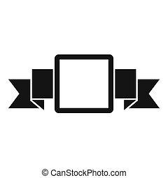 malý, čtverec, prapor, ikona, jednoduchý, móda