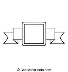 malý, čtverec, prapor, ikona, nárys, móda