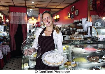 malý, business:, číšnice, showing, jeden, chutný, dort