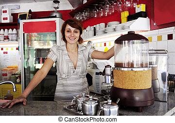 malý, business:, nadutý, vlastník, nebo, číšnice