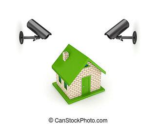 malý, cameras, house., pozorování