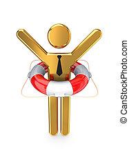 malý, osoba, lifebuoy., 3