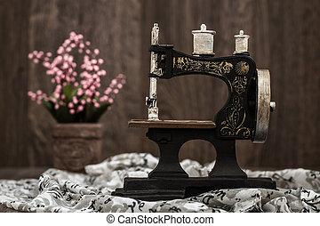 malý, ozdobný, stroj, šití, nostalgický