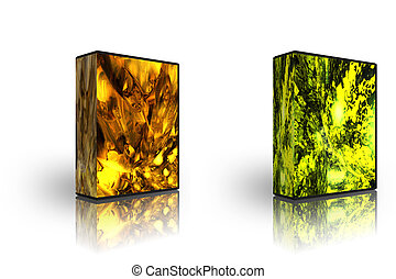 mal, abstract, 2, gouden, doosje