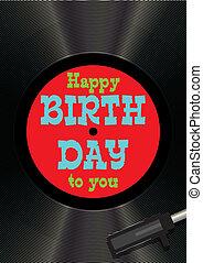 mal, begroetende kaart, gelukkige verjaardag, op, vinyl