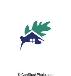 mal, boompje, eik, thuis huis, eco, logo, blad, groene, natuur