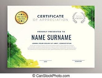 mal, certificaat, appreciatie, abstract, groene
