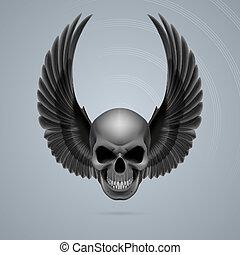 mal, cima, cranio, asas