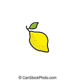 mal, citroen, logo, pictogram, ontwerp, fruit