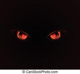 mal, dangerus, olhos, ligado, experiência preta