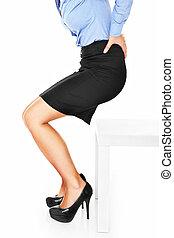 Mal di schiena, immagine, donna, sedere, sedia, tentando..