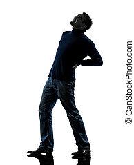 mal di schiena, pieno, dolore, lunghezza, silhouette, uomo