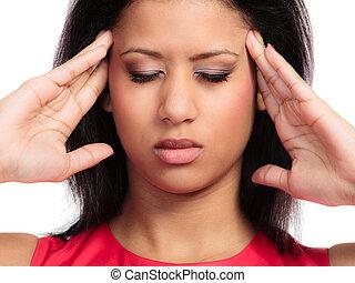 mal di testa, testa, donna, dolore, emicrania, isolato, giovane, seno, sofferenza, corsa, chiuso, accentato, mescolato, ragazza, preoccupato, ache., bianco, occhi