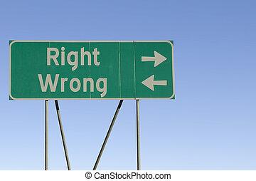 mal, droit, ou, panneaux signalisations