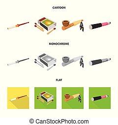 mal, ensemble, stock., accessoires, illustration, symbole., vecteur, euphorie, icône
