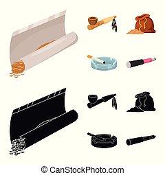 mal, euphorie, accessoires, stock., icône, logo., vecteur, ensemble, illustration