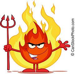 mal, fuego, delante de, llamas
