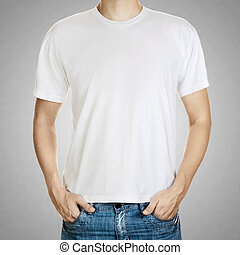 mal, grijze achtergrond, jonge, t-shirt, man, witte