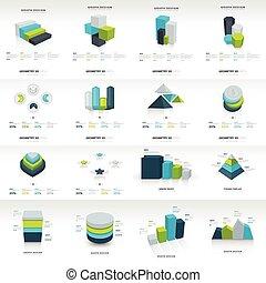mal, infographic, meetkunde, set