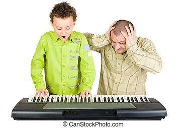 mal, jogar piano, criança