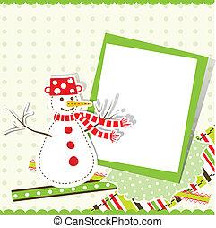 mal, kerstmis, begroetende kaart, vector