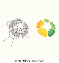 mal, kleurrijke, abstract, illustratie, vector, menselijk