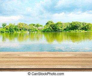 mal, lagune, blauwe , lege, hemel, hout, display, tafel, product, bos, achtergrond