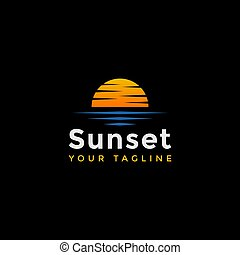 mal, logo, ontwerp, strand, ondergaande zon