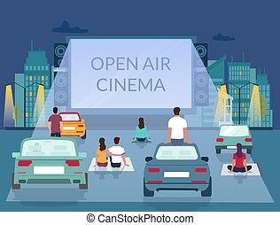 mal, lucht, vector, ontwerp, bioscoop, open, poster
